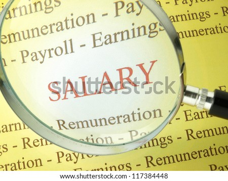 Looking for information on wages and benefit packages - stock photo