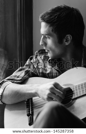 black and white guitarist stock photos images pictures shutterstock. Black Bedroom Furniture Sets. Home Design Ideas