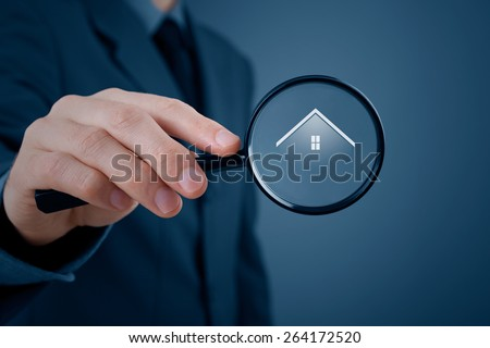 Looking for real estate agency, property insurance or new house (residence).  - stock photo