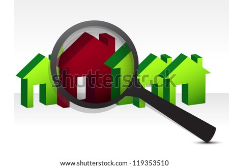 looking for the perfect house illustration design over white - stock photo
