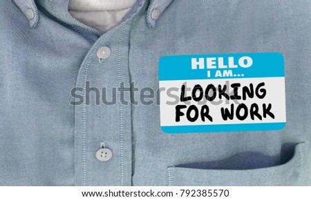 Looking For Work Name Tag Hello Sticker 3d Illustration