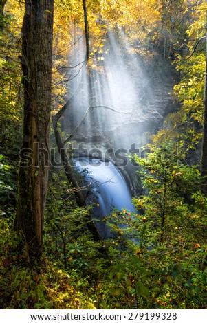 Looking glass falls in Autumn in North Carolina-1 - stock photo