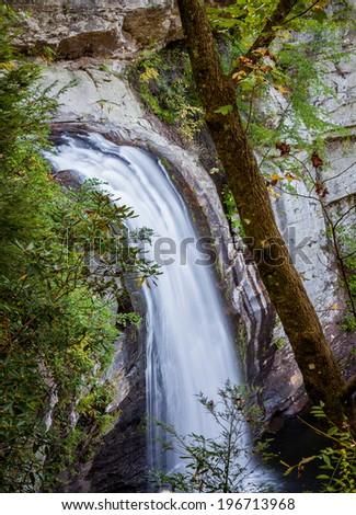 Looking Glass Falls in Brevard, North Carolina - stock photo