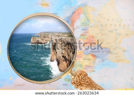 Looking in on Cabo de Sao Vicente, Portugal with European map in the background - stock photo
