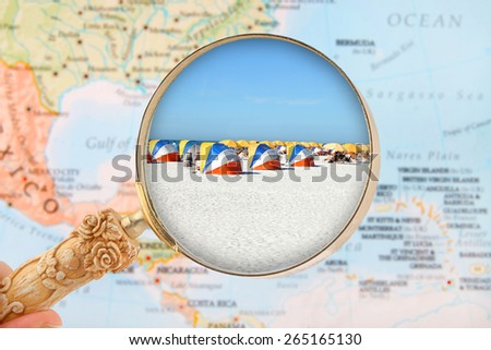 Looking in on Clearwater Beach Florida, USA under sunny skies - stock photo