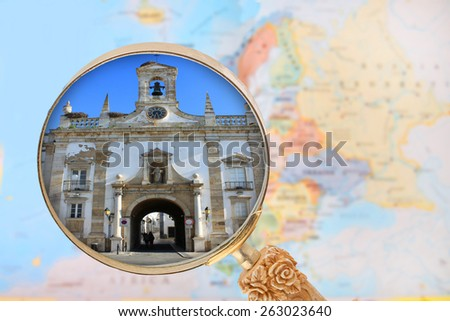 Looking in on Lisbon, Arc da Villa in Faro, Algarve, Portugal - stock photo