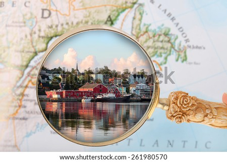 Looking in on Lunenburg, Nova Scotia in the Maritime Provinces, Canada - stock photo