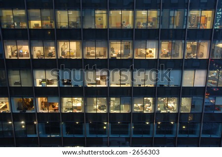 Looking in on mostly unoccupied mid-Manhattan offices, New York, New York