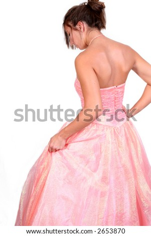 looking like a princess in a peach formal