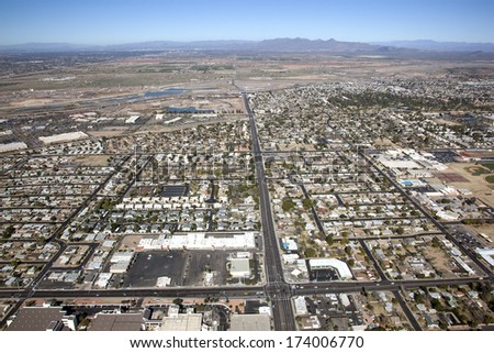 Looking north from University Dr. at Alma School Rd., Mesa, Arizona - stock photo