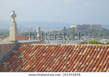 Looking out of the Picasso Museum, Antibes, France - stock photo