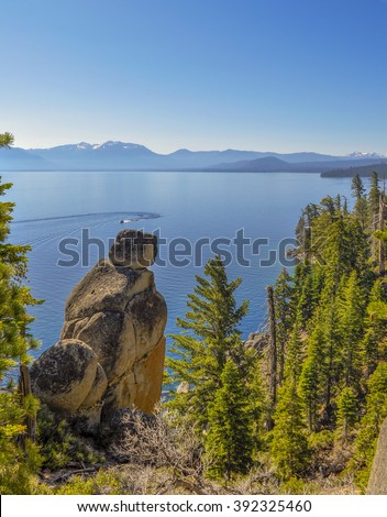 Looking out over Lake Tahoe.  - stock photo