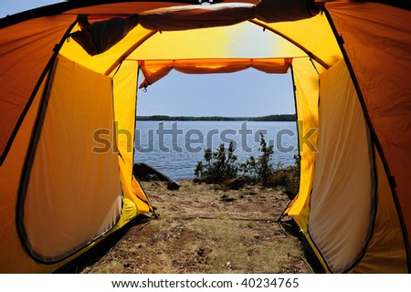 Looking out through the tent opening