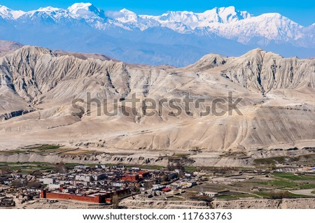 Looking over Lo Manthang toward Lo (Day) La, the south pass.