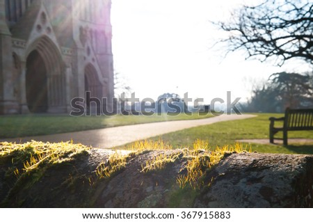 Looking over the wall to the park and cathedral