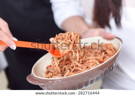 Looking so tasty. Close-up of fresh  made tasty Asian food - stock photo