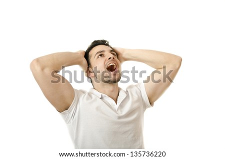 Looking something up, in the copyspace. - stock photo