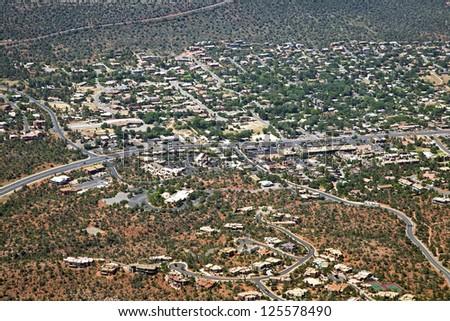 Looking south along highway 89a in Sedona, Arizona - stock photo