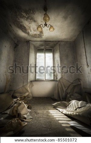 Looking straight up this window, afraid of something to come in. - stock photo