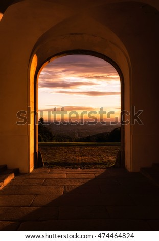 Looking Through Archway at Sunrise Solitude Palace Stuttgart Germany