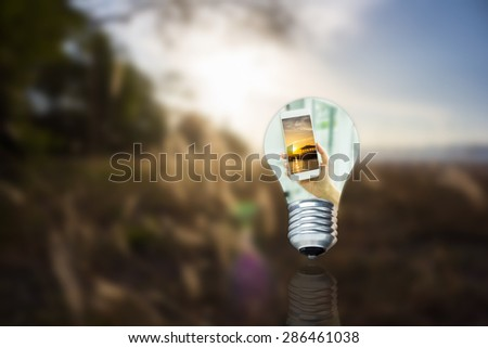 Looking through the bulb to communicate at all times. - stock photo