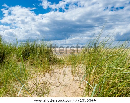 Looking through the grass covered dunes towards the sea.