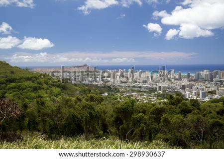 Looking toward Diamond Head, Waikiki and downtown Honolulu from Tantalus in Oahu, Hawaii.
