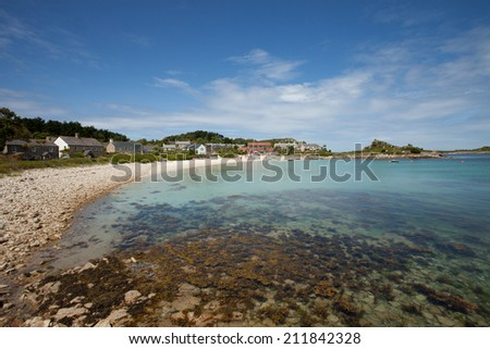 Looking towards Old Grimsby, Tresco, Isles of Scilly - stock photo