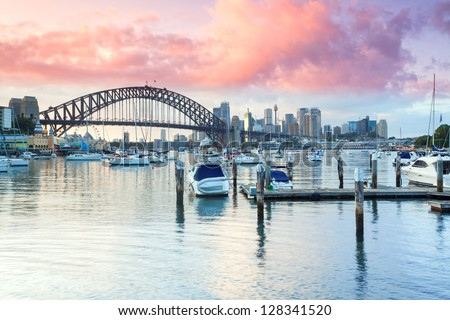 Looking towards Sydney Harbour Bridge from Lavender Bay - stock photo