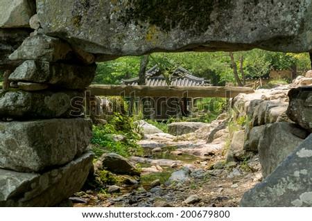 Looking under a korean aquaduct. Taken in Sosewon, South Korea - stock photo