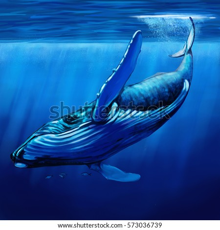 Looking blue whale surrounded by bonito stock illustration 573036739 looking up at a blue whale surrounded by bonito fish diving just below the thecheapjerseys Choice Image