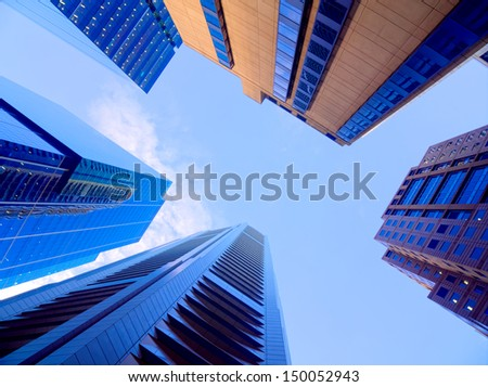 looking up at a group of skyscrapers in melbourne