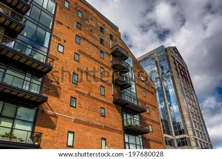 Looking up at buildings in Boston, Massachusetts. - stock photo