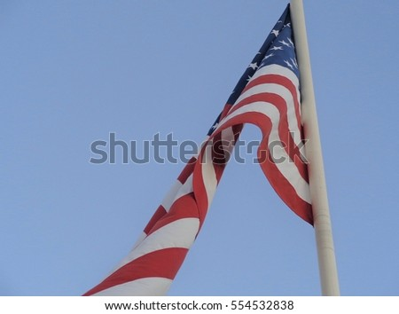 Looking Up at the American Flag