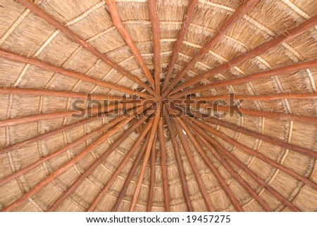 Looking up at the thatch roof of a cottage. - stock photo