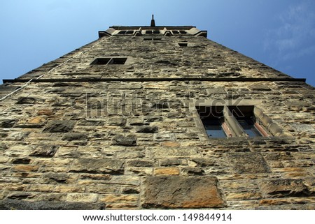 Looking up at the Victorian Castle Hill Towe, Huddersfield