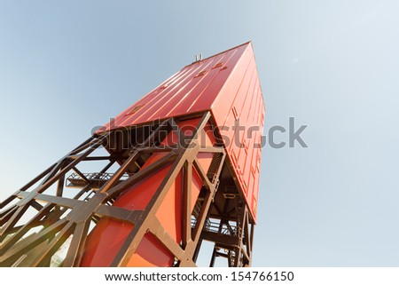 Looking up derrick/mast of a land drilling rig - stock photo