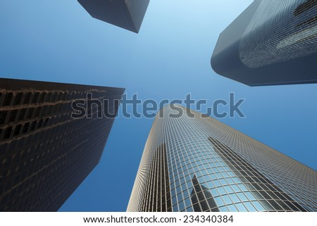 Looking up downtown highrise at Los Angeles - stock photo