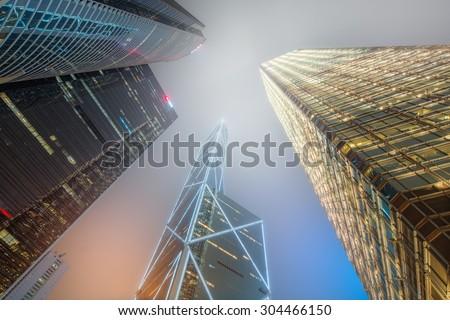 Looking up Hong Kong skyscrapers and office buildings, Hong Kong, China - stock photo