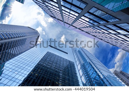Looking up Philadelphia skyscrapers, United States - stock photo