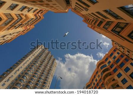 Looking up residential buildings. Kiev. Ukraine. - stock photo