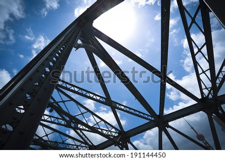 Looking up Shanghai Garden Bridge at Medieval - stock photo