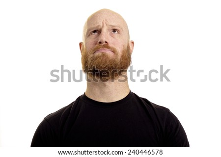 looking up, thinking, puzzled, bald red beard man - stock photo