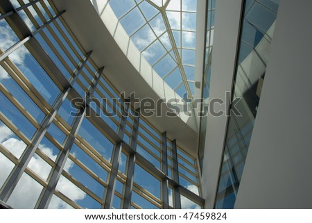 looking up through the skylight - stock photo