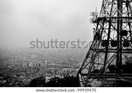 lookout from seoul tower over the smog covered city - stock photo