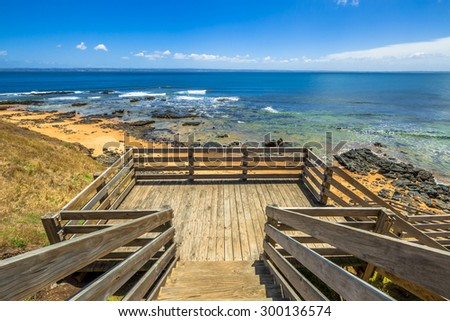 Lookout from the wooden walkway in Flynns Beach, Phillip Island, Victoria, Australia. - stock photo