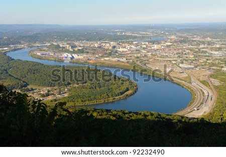 Lookout Mountain overlook of Chattanooga, Tennessee - stock photo