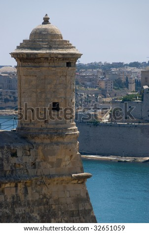 lookout over Grand Harbour - stock photo