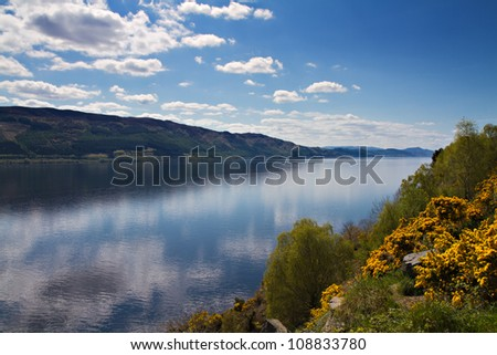 Lookout over Loch Ness with reflections of clouds, Scotland