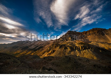 lookout Peak at Sunset as seen from Ophir Pass Colorado  - stock photo